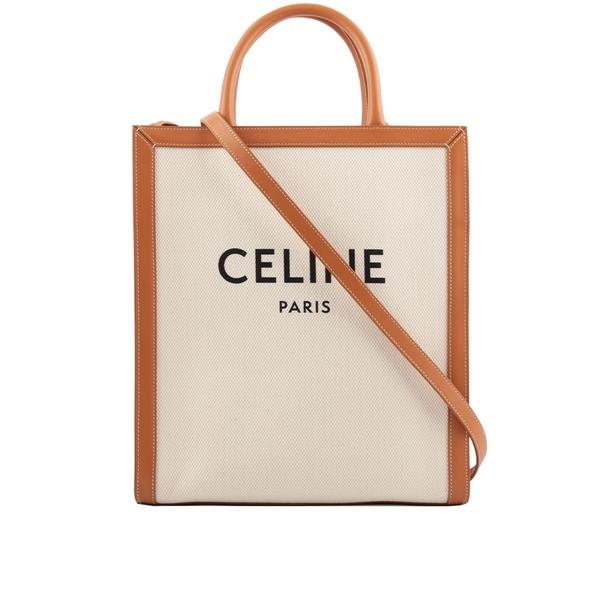 【CELINE】小型 Logo 印花帆布及小牛皮直式CABAS(米白/焦糖) 192082BNZ.02NT