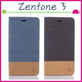 Asus Zenfone3 ZE552KL 5.5吋 帆布皮套 牛仔紋手機殼 混拼材質保護套 側翻手機套 支架保護殼