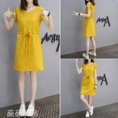 洋裝 韓版新款2020夏季中長款T恤裙子女寬松打底裙有口袋V領短袖連身裙 薇薇
