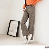 《BA4740》舒適手感毛料格紋寬褲 OrangeBear
