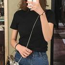 (T-8992)純色半高領緊身短袖T恤女百搭春夏簡約短袖上衣