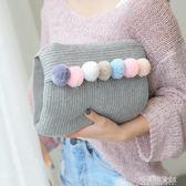 艾上針織毛線球糖果色充電熱水袋電暖寶暖手袋暖腰寶熱寶寶可拆洗【解憂雜貨鋪】