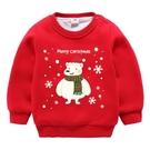 兒童小衫聖誕節衣服男童紅色喜慶過年衣服女童秋冬加絨女寶寶連帽T恤  Cocoa