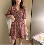 【藍色巴黎 】 韓國時尚碎花縮腰五分袖俏麗洋裝《2色》【28902】