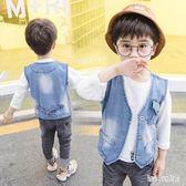 男童牛仔馬甲薄款2019新款寶寶坎肩中大兒童韓版西裝馬夾背心 QG30373『bad boy時尚』