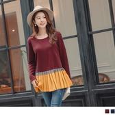 《AB11685》溫暖厚磨毛拼接配色百褶下襬長袖上衣 OrangeBear