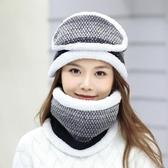 女帽子毛線帽 保暖冬帽騎車防風遮臉護脖毛線套頭帽三件套加絨加厚針織帽【多多鞋包店】yp88