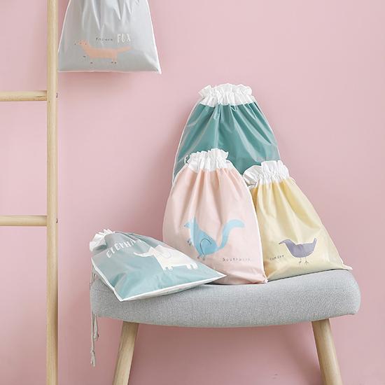 雙層旅行收納束口袋(小39.5x31.2cm) 抽繩袋分裝整理袋 防水 鞋包簡約 束口袋 防塵【Y024】慢思行