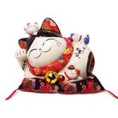 【金石工坊】平安福來躺貓(高20.5CM)招財貓 陶瓷開運風水擺飾  開店送禮 開業禮品 撲滿存錢筒