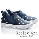 ★2017春夏★Keeley Ann西部牛仔~仿舊鉚釘水鑽真皮軟墊休閒鞋(藍色)-Ann系列