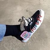 帆布鞋 設計日系jk格子百搭低幫可愛少女蝴蝶結塗鴉帆布鞋 港仔會社
