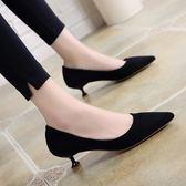 高跟鞋女細跟貓跟鞋工作3cm中低跟單鞋【好康嚴選九折柜惠】