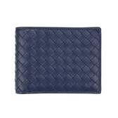 BOTTEGA VENETA 經典編織牛皮內零錢袋9卡對開男用短夾(深藍)