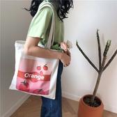 帆布袋 水果 印花 手提包 帆布包 單肩包 環保購物袋--手提/單肩/拉鏈【SPA192】 ENTER  09/13