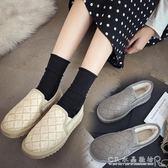 加絨雪地靴女短筒冬季韓版百搭孕婦冬鞋一腳蹬棉鞋麵包鞋 CR水晶鞋坊