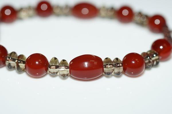 【喨喨飾品】紅瑪瑙 / 茶水晶 開運手鍊  A126