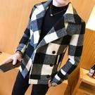 西裝 秋冬季加厚短款毛呢外套潮流青年韓版修身雙排扣呢子大衣【聖誕禮物】
