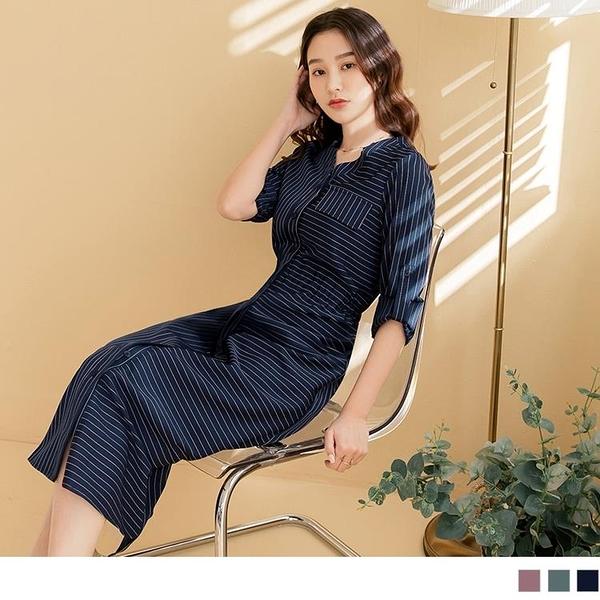《DA8374-》拼接條紋V領可反摺袖綁帶鬆緊長洋裝 OB嚴選