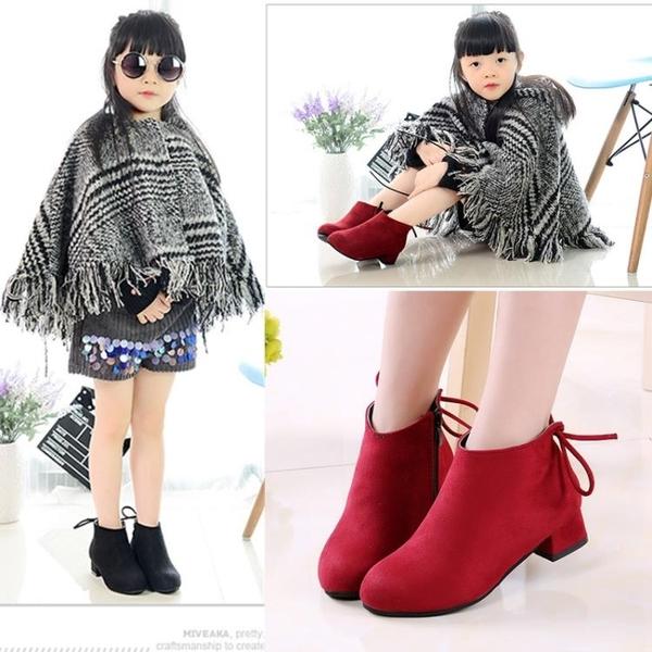 女童鞋2019秋冬新款韓版兒童靴子女孩小高跟公主靴加絨短靴時裝靴