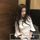 2019春季韓版大碼七分袖甜美刺繡玫瑰T恤嗽叭袖上衣服女『韓女王』