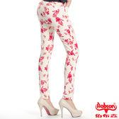 BOBSON 女款高腰強彈印花小直筒褲(8079-13)