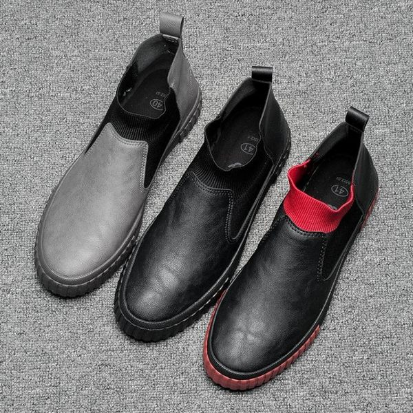 休閒鞋男 板鞋 秋冬高幫韓版潮鞋休閒皮鞋中幫一腳蹬男鞋子《印象精品》q1826