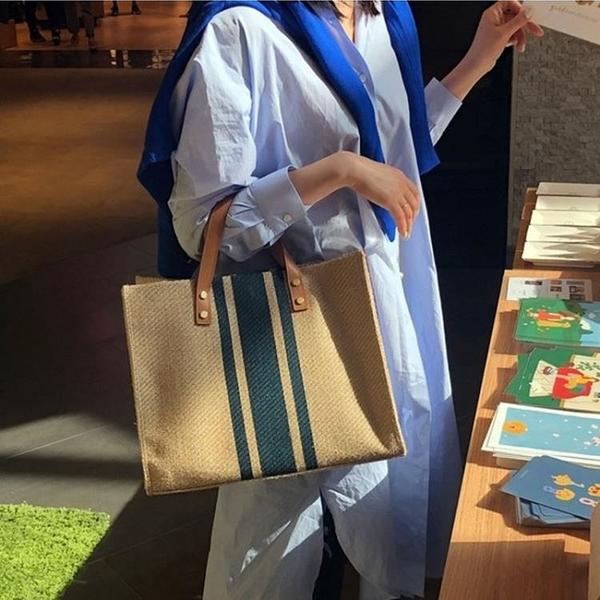 韓版女士手提公文包職業通勤條紋簡約單肩大包包ins大容量帆布包 安妮塔小铺