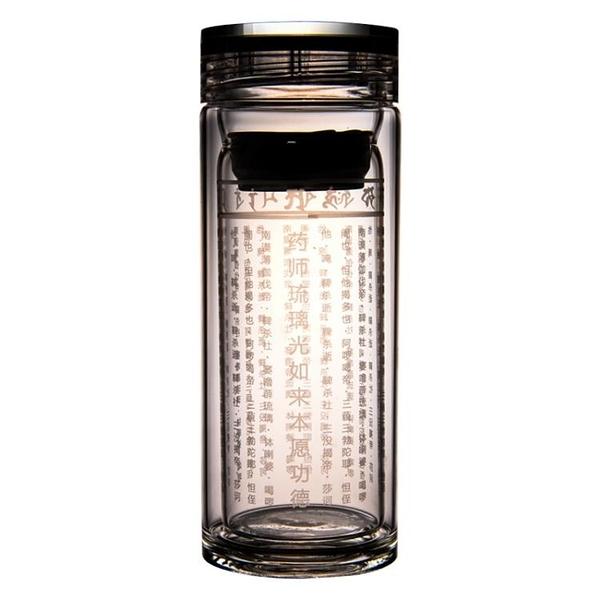 無量善雙層師咒保溫杯雙層大悲咒水晶杯水杯耐高低溫防爆佛經杯 新年禮物
