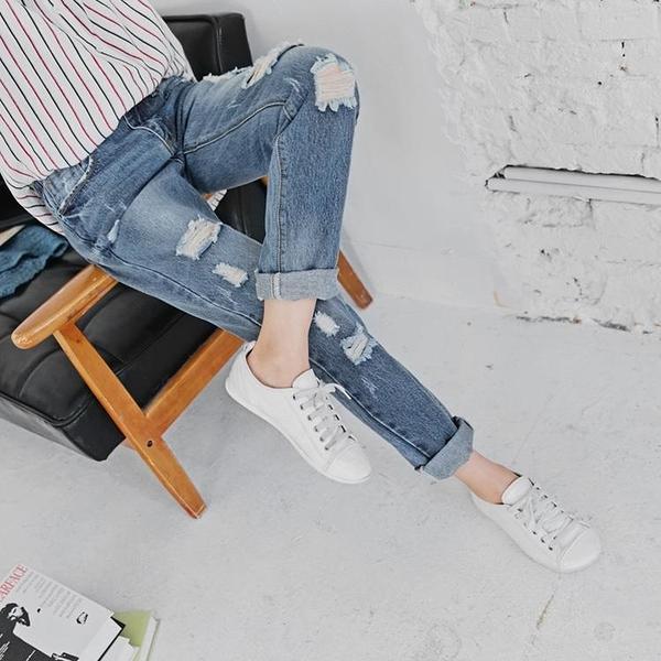 OB嚴選《BA2792-》高含棉.率性刷色破損造型牛仔/丹寧男友褲