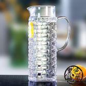 冷水壺玻璃耐高溫家用大容量果汁壺扎壺防爆耐熱涼水杯套裝帶過濾【黑色地帶】