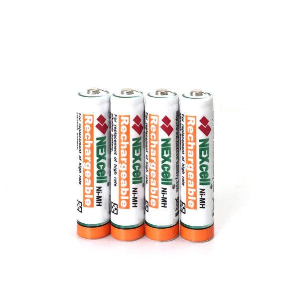 【4顆裝】NEXcell 耐能 AAA 無線電話用4號鎳氫充電電池 1000mAh高容量