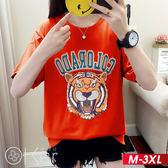 猛虎刺繡圖案短袖T恤 M-3XL O-ker歐珂兒 161666