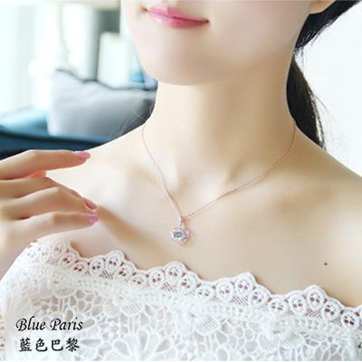 藍色巴黎 ★ 韓國 時尚花朵鑽石玫瑰金項鍊+飾品盒【21522】【防過敏】