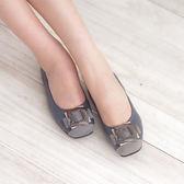 懶人鞋 娃娃鞋 藍 女鞋 真皮平底娃娃鞋《SV7099》HappyLife