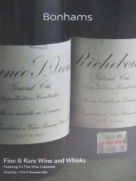 【書寶二手書T2/收藏_DZM】Bonhams_Fine & Rare Wine and Whisky_2020/11/20-21
