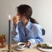 梨卡 - 秋冬氣質甜美純色顯瘦設計感立領襯衫上衣/3色B994