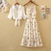 兩件套洋裝2020春夏新款露肩荷葉邊小清新吊帶裙子雪紡碎花連身裙學生兩件套 伊蒂斯