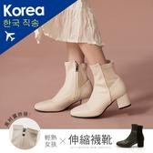 靴.異材拼接粗跟襪靴-FM時尚美鞋-韓國精選.Cold