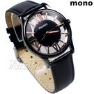 mono 羅馬 鏤空 精美時尚 設計美學 藍寶石水晶 真皮錶帶 小羊皮 男錶 黑色x玫瑰金 5003B鏤槍玫大