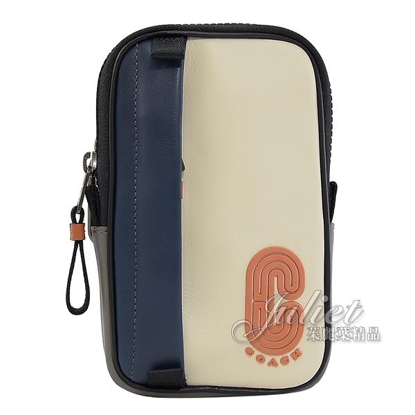茱麗葉精品【全新現貨】COACH 91259 流線LOGO造型拼色掛式腰掛包.藍/白