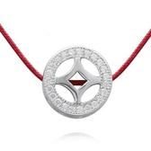 925純銀項鍊+鑲鑽吊墜-鏤空圓環生日情人節禮物女配件73df77【時尚巴黎】