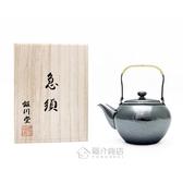 日本銅器【銀川堂】燻銀銅壺 藤把急須 0.36L 黃銅銀壺 原廠桐箱 銅底鍍銀小茶壺 GINSENDO御用日本製