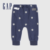 Gap嬰兒 Logo可愛印花寬鬆襠針織褲 618852-藍色