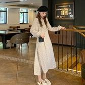 法式收腰長袖洋裝女秋裝2020年新款裙子韓版氣質顯瘦森系碎花裙 【年貨大集Sale】