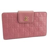 【奢華時尚】CHANEL 粉紅色方形格紋牛皮六卡扣帶長夾(八成新)#24661