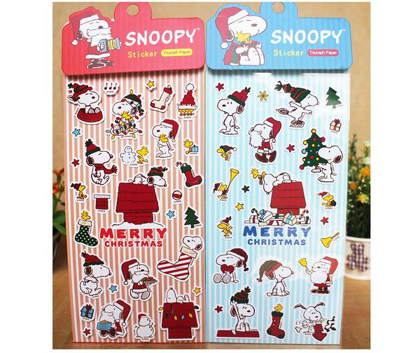 【卡漫城】 SNOOPY 耶誕 貼紙 任選三張 ㊣版 聖誕老人 史奴比 史努比 聖誕節 裝飾 造型 禮物 卡片