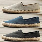 帆布鞋 中國風漁夫鞋懶人草編休閑布鞋一老麻帆布草鞋