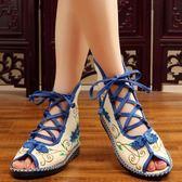 中式盤扣刺繡繡花鞋 復古高幫系帶女士涼鞋老北京布鞋漢服配鞋單鞋