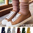 [現貨] 襪子 長筒襪 中筒襪 鬆口襪 復古顏色純色 細坑條  捲邊無痕  彈性棉 M1002