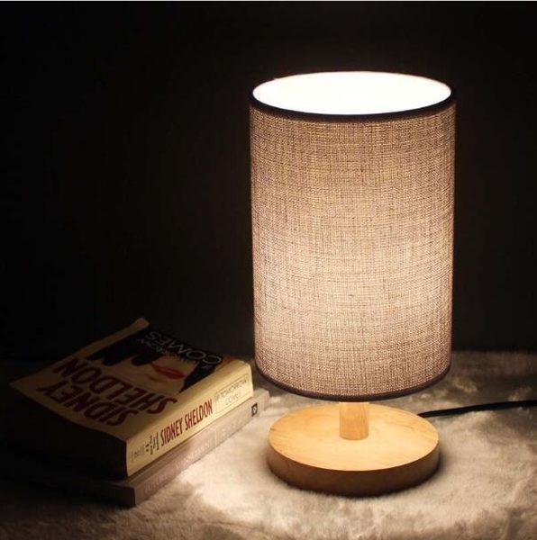 簡約現代溫馨喂奶台燈 臥室床頭燈 實木可調光 創意小夜燈【時尚家居館】